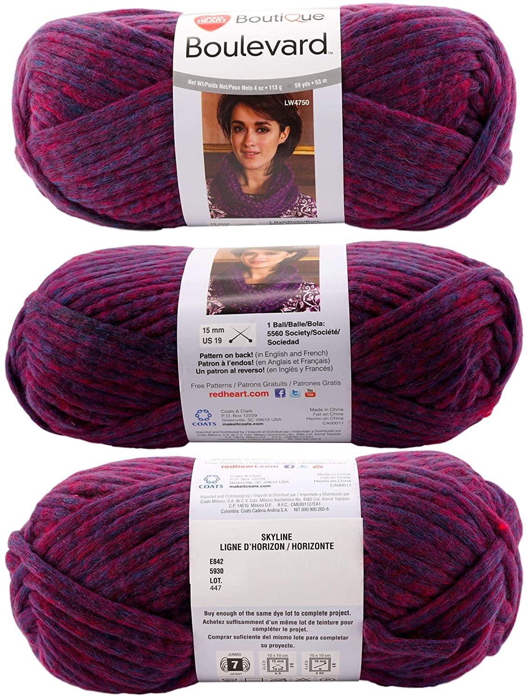 Red Heart Boulevard Yarn (3 Pack) - Color Skyline Jumbo 7 Size (4 oz. x 59 Yards)