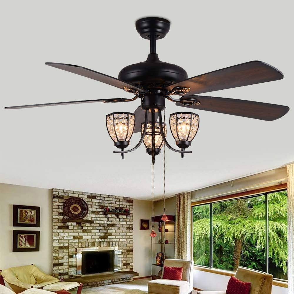 RainierLight 52-inch Ceiling Fan Lamp 3 Cryatal Light Kit 5 Wood Blade Remote Control Led Light Chandelier for Bedroom/Living Room Mute Energy Saving Fan