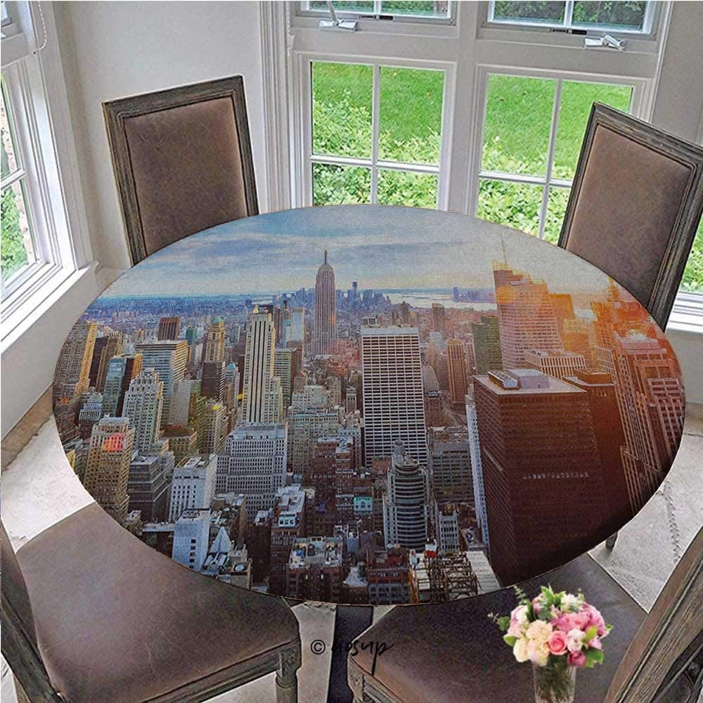 ThinkingPower Table Cover Sunset in The Manhattan Island Downtown Brooklyn Financial District Skyscrapers Durable Wipe-Clean Table Cover for Homeschool Classroom Multicolor Diameter - 55 Inch