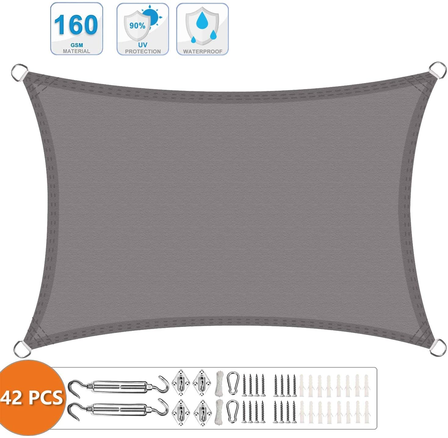 XXJF Shade Sail Canopy 95uvBlockageWaterairPermeable,DurableRopesIncluded Sail Canopy Awning CurvedEdgeWovenPolyester PerfectforOutdoorPatioGardenYard (Color : Gray, Size : 3.5x6m)