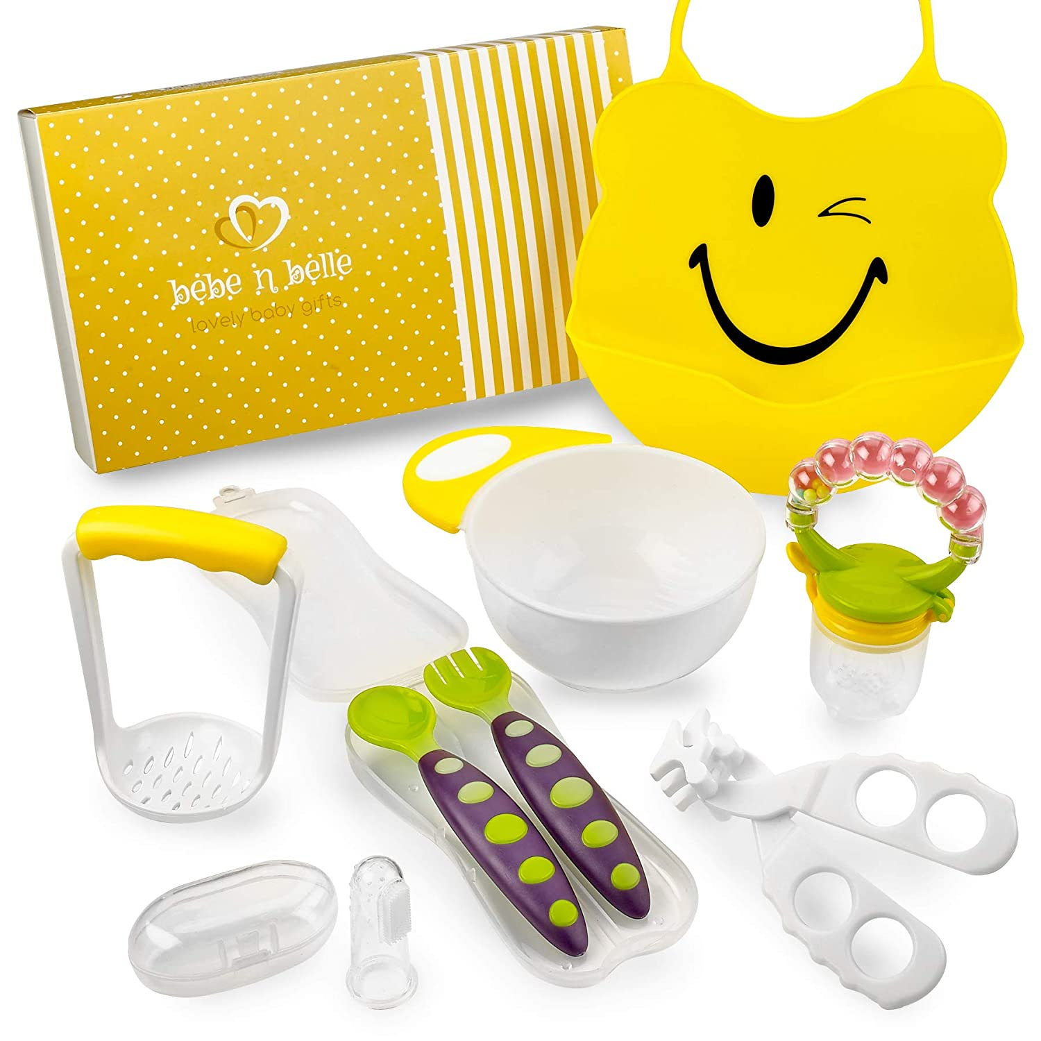 Baby Feeding Gift Set 8PC: Silicone Bib, Masher and Bowl, Spoon and Fork Set, Fruit Feeder with Rattle, Finger Toothbrush and Food Scissors by Bebe N Belle