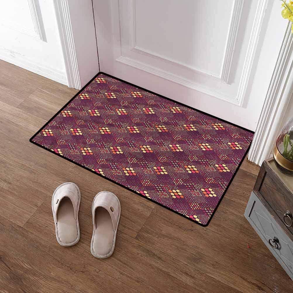 SCOCICI1588 Pet Mat Geometric, Mosaic Futuristic Entry Way Mats No Odor Durable Anti-Slip 35 x 59 Inch