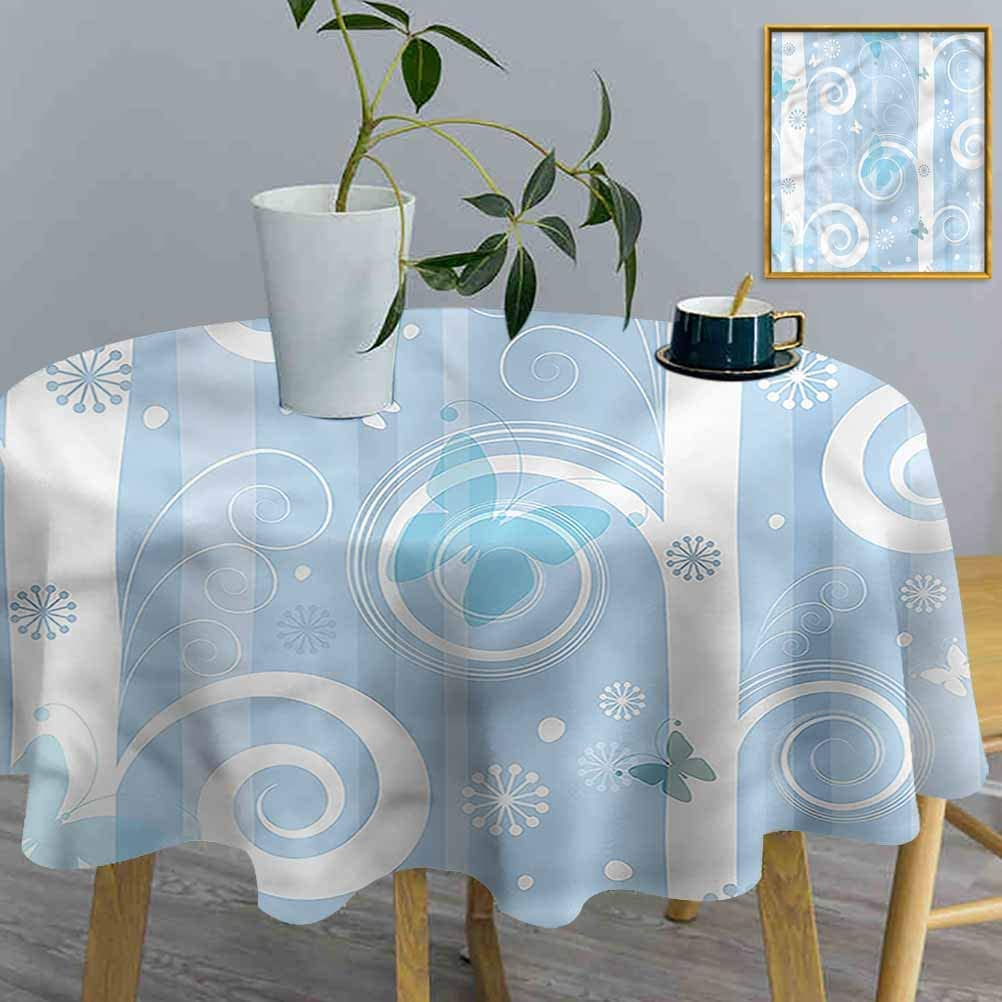 ThinkingPower Table Cloths Christmas, Snowflakes Butterfly Decorative Solid Table Cover Perfect for Spring, Summer, Indoor, Outdoor (Diameter60 Inch)