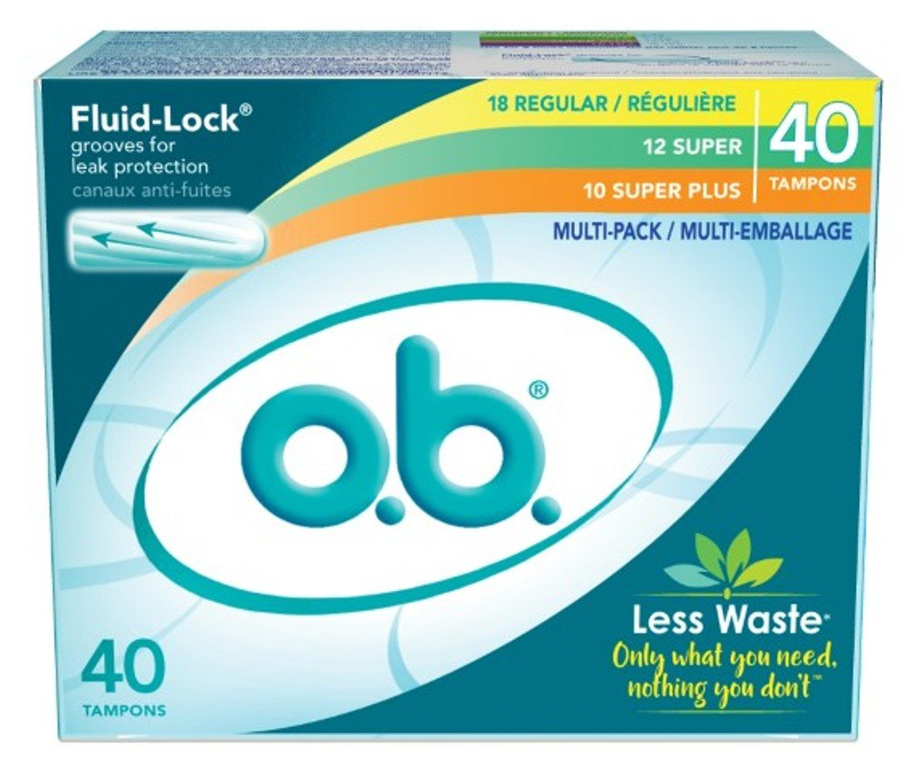 O.B. Tampons 18 Regular - 12 Super-10 Super Plus Fluid Lock (2 Pack)