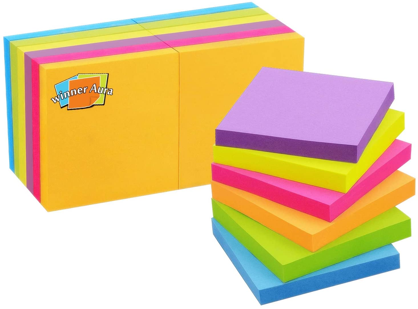 Pop Up Sticky Notes 3x3 inch Bright Colors Self-Stick Pads 12 Pads/Pack 100 Sheets/Pad Total 1200 Sheets