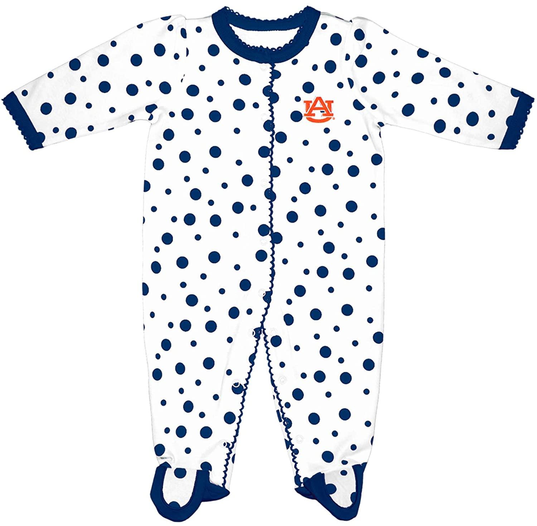 Two Feet Ahead NCAA Auburn Tigers Infant Polka Dot Footed Creeper Dress, Preemie, Navy