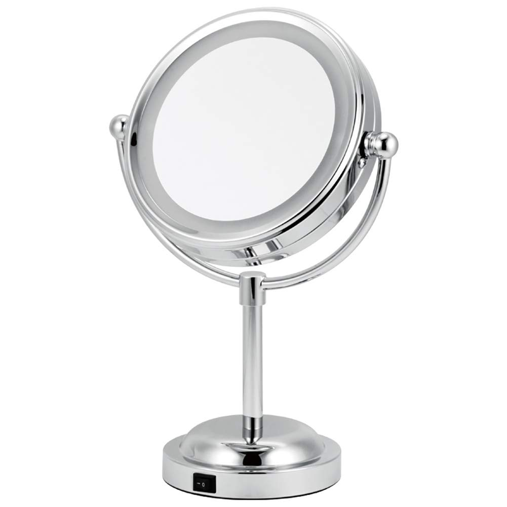 3x Lighted Vanity Makeup Mirror, Two Power Supply Mode Portable Countertop Cosmetic Mirror-silvery 17cm(7inch)