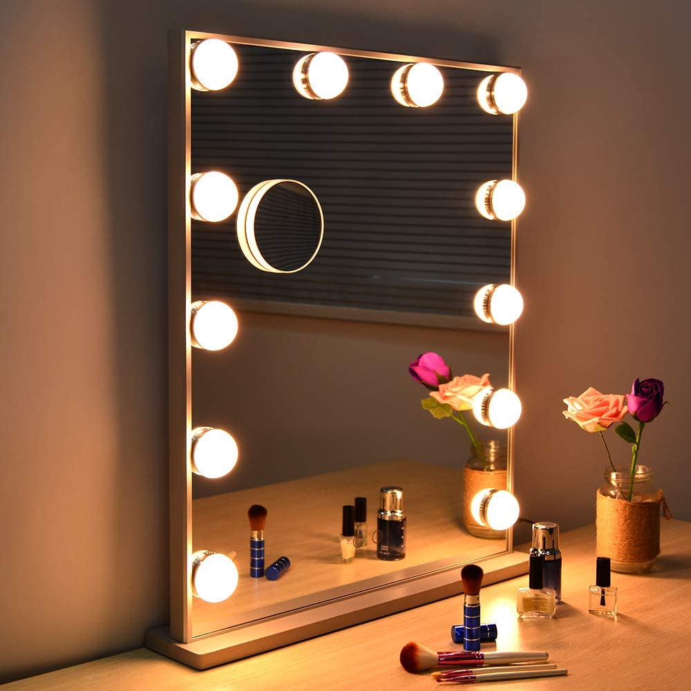 Wonstart Hollywood Makeup Vanity Mirror with Lights Kit, Lighted Makeup Dressing Table Vanity Set Mirrors with Dimmer, Tabletop or Wall Mounted Vanity, LED Bulbs Included