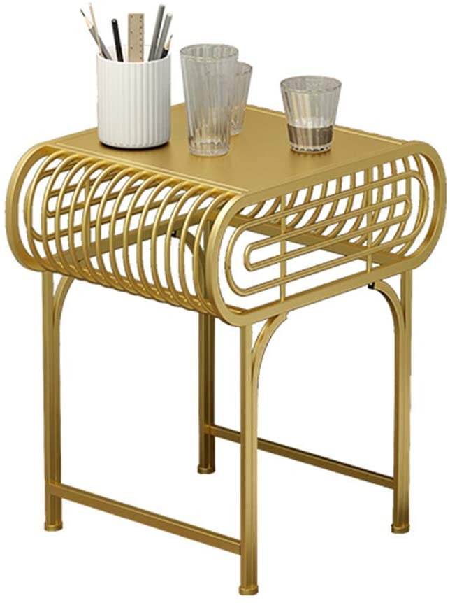 GWW Perfect FurnitureGold Iron Art Coffee Table, Creative Living Room Sofa Table Rectangle Table Metal Bedside Table Leisure Reading Table (Size : 524050CM)