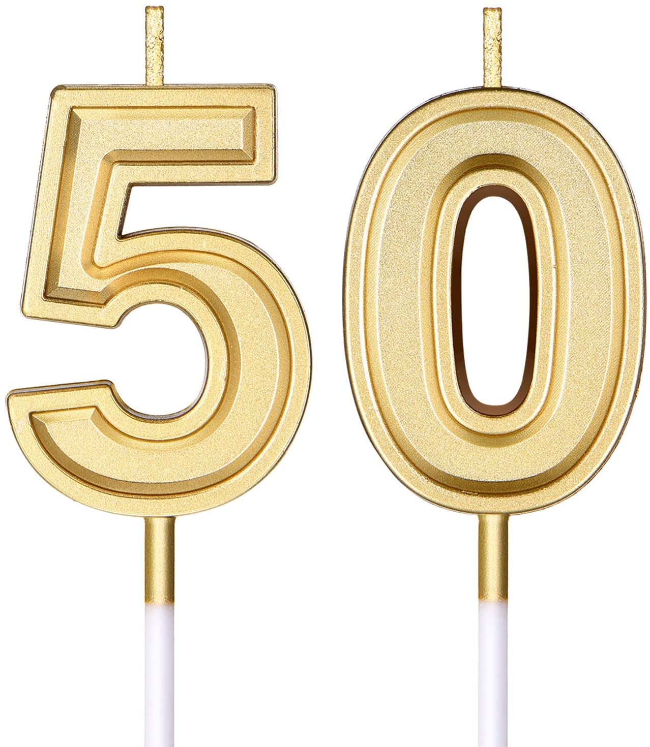 50th Birthday Candles Cake Numeral Candles Happy Birthday Cake Candles Topper Decoration for Birthday Wedding Anniversary Celebration Supplies (Gold)