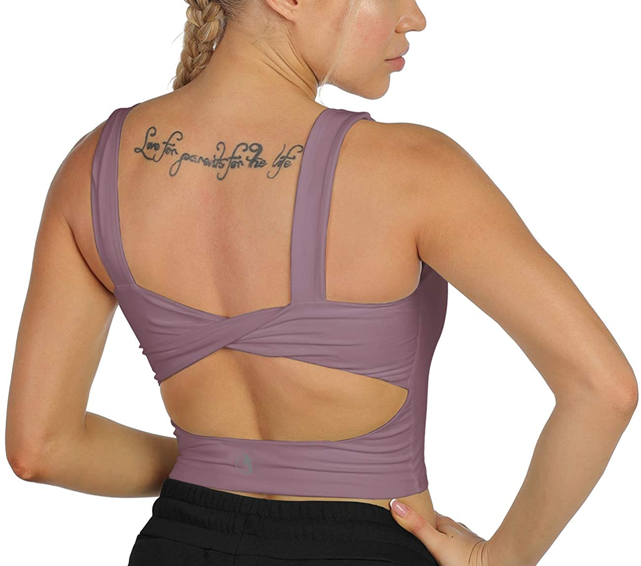icyzone Sports Bras for Women Without Pads - Open Back Yoga Crop Top Workout Running Shirts