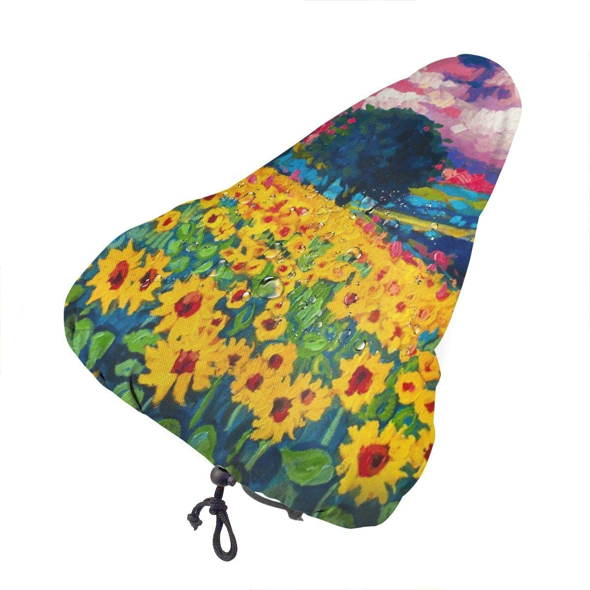 ZHOUSUN Waterproof Bike Seat Cover Unique New Year Pattern with Deer Bicycle Saddle Rain Dust Covers with Drawstring,Comfort for Women,Men,Kids