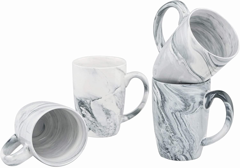 Culver 16-Ounce Palermo Ceramic Mug Set of 4 (White and Black Olive Marbleized)