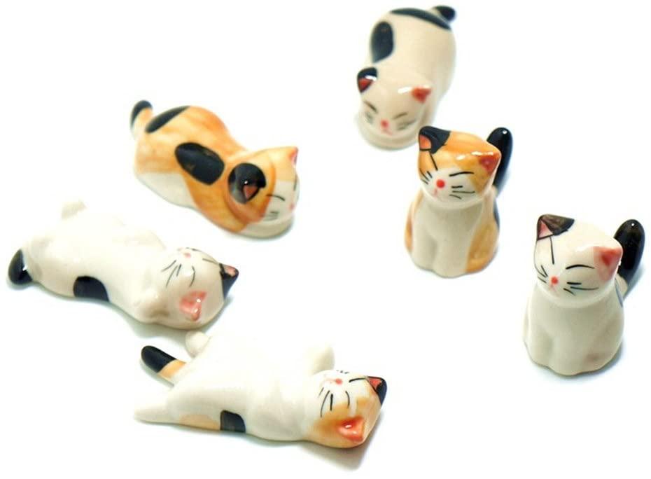 Wowlife 6 Pcs Kawaii Cartoon Cat Chinese Style Ceramic Cat Pattern Chopstick Rest Spoon Fork Knife Holder Rack