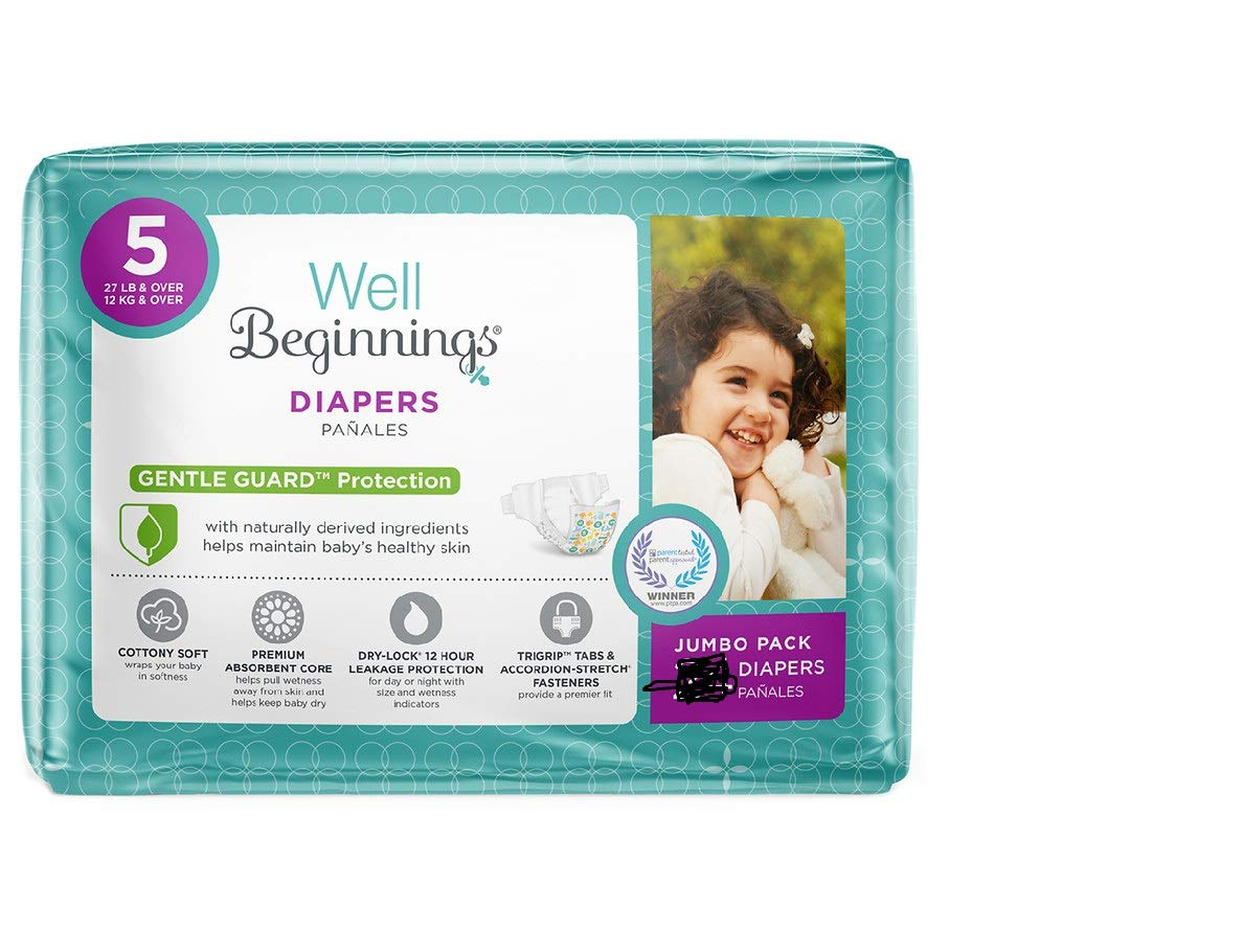 Well Beginnings Premium Diapers 56 Count (Size 5/27 ib & Over)