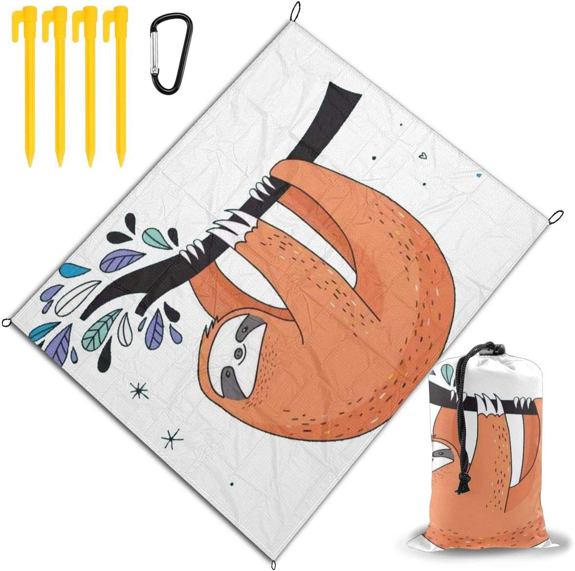 JEKYDOSD Sloth Green Printed Picnic Mat,Travel Outdoor Beach Blanket Durable Waterproof Sand Beach Mat Blanket for Travel Camping Hiking 67
