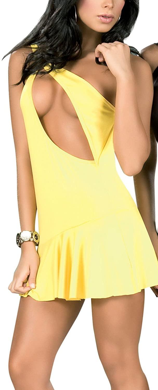 Espiral NWT 4029 Sexy Yellow O Ring Hot Clubwear Dance Exotic Mini Dress Top Rave S M