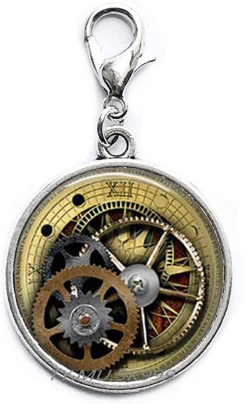 Yao0dianxku Steampunk Clockworks Zipper Pull,Style Watch Bezel,Clock Gears&Cogs,Steampunk Jewelry,Clock Art Lobster Clasp.Y040