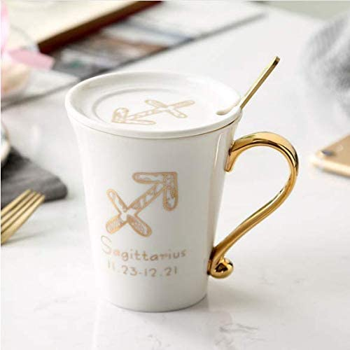 Porcelain Coffee Cup with Zodiac Sign Design Porcelain Tea Cup (with lid and Spoon) Gift Box Packaging Afternoon Tea Set.