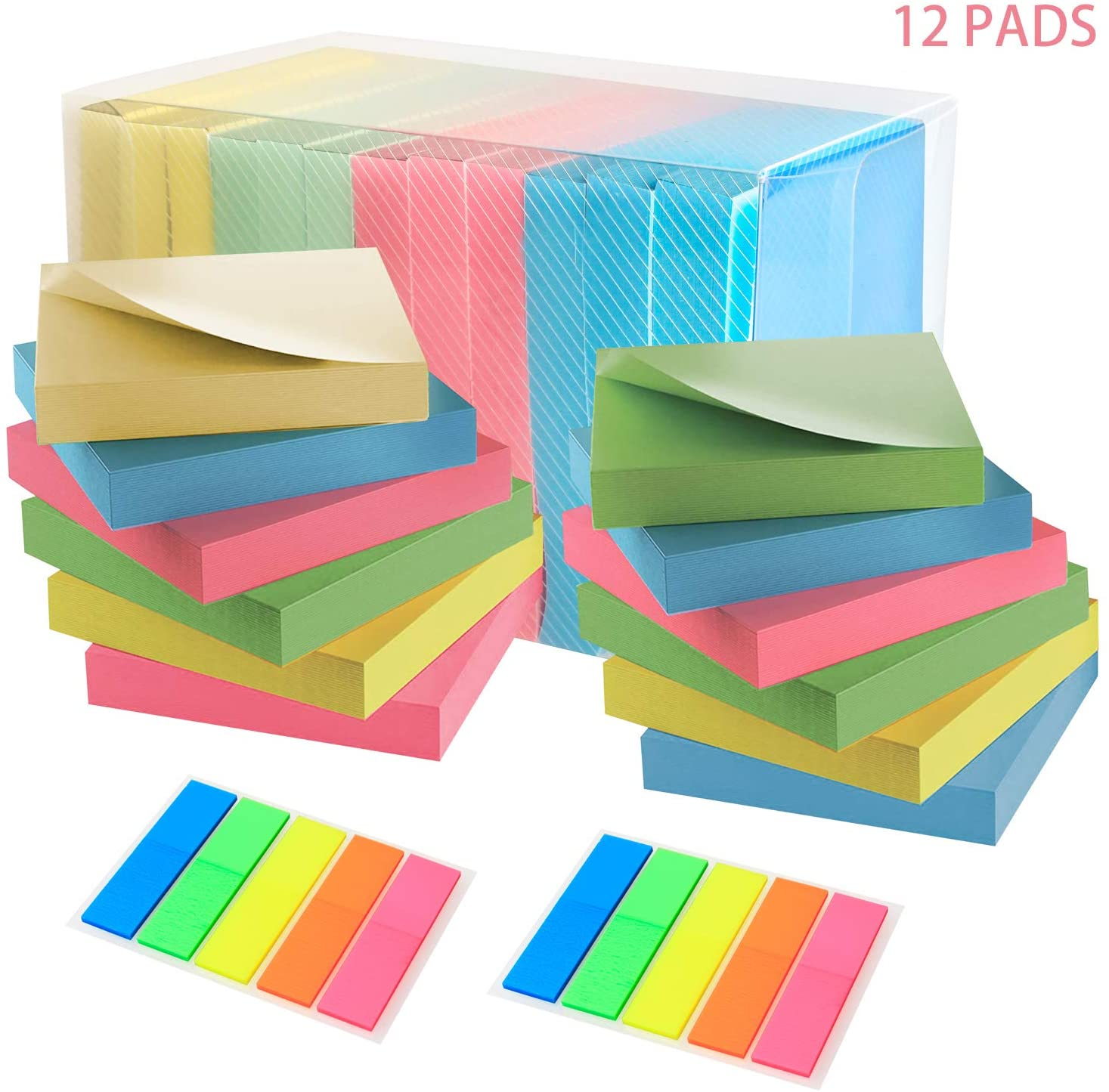 Self-Stick Notes,Sticky Notes 3x3 Bright Colorful Stickies 12 Pads (4 Colors) and Send 2 Pads Page Markers Great for School, Office, Home, Planner Notebook