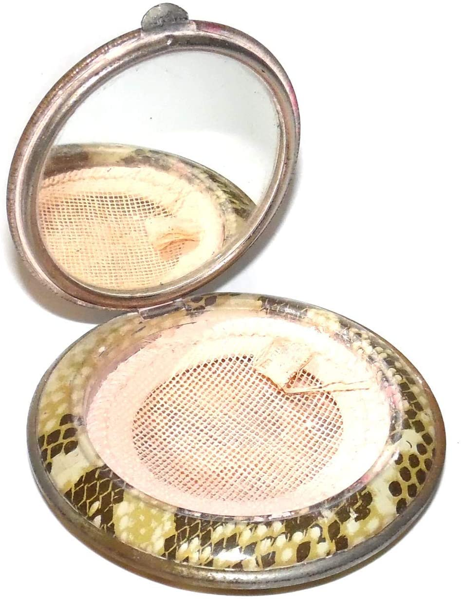 Vintage Faux Snakeskin Pocket Powder Makeup Compact w/Mirror & Scene on Lid