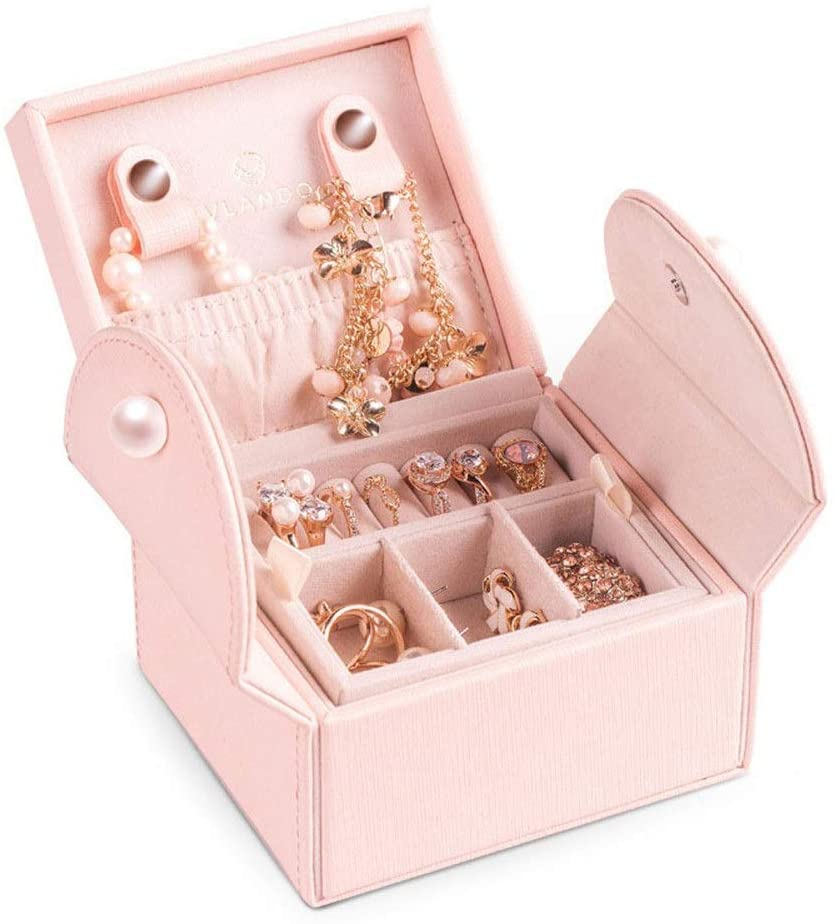 FCSFSF Jewelry Box Stchen Mini Schmuck Box Women Small Travel Event Age Display Magnetic Port Lock? Bare Storage Jewelry Case for Rings Necklaces Bracelets? Nder Earrings Birthday Gift Party Gift pe