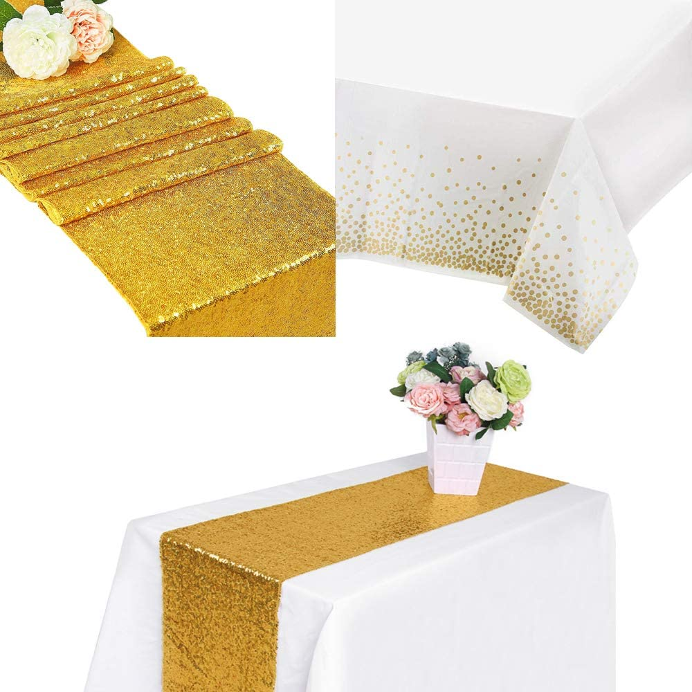 YMHPRIDE Sequin Golden Table Runner+ Plastic Tablecloths Gold Dot Confetti for Birthday Wedding Engagement Bridal Shower Baby Shower Bachelorette Holiday Celebration Party Decoration