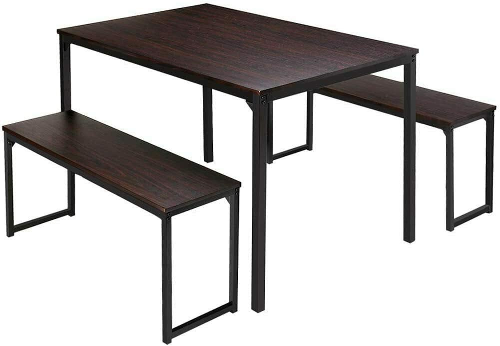 3 Piece Dining Table Set 2 Benches Wood Kitchen Room Breakfast Furniture Brown