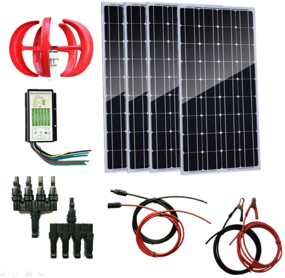 AUECOOR 700W Wind-Solar Generator Kit: 4PCS 100W Solar Panels & 300W Wind Turbine Generator & Hybrid Controller+ Accessories