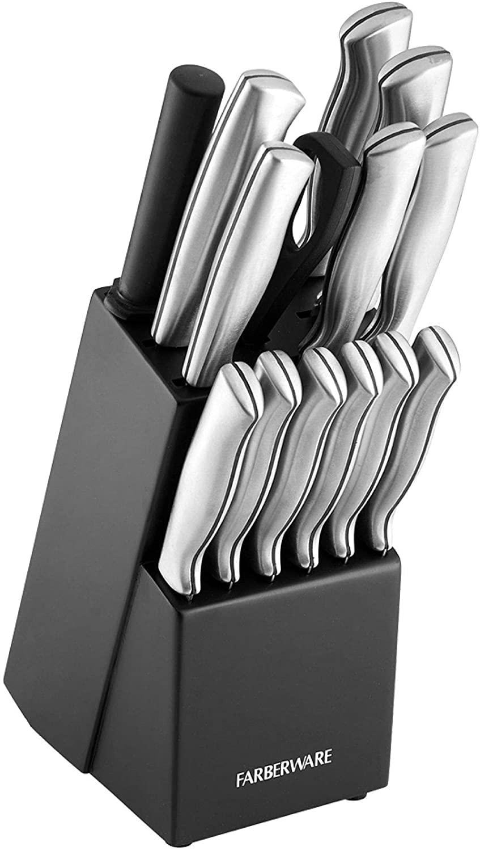 Farberware 5152497 Stamped 15-Piece High-Carbon Stainless Steel Knife Block Set, Steak Knives