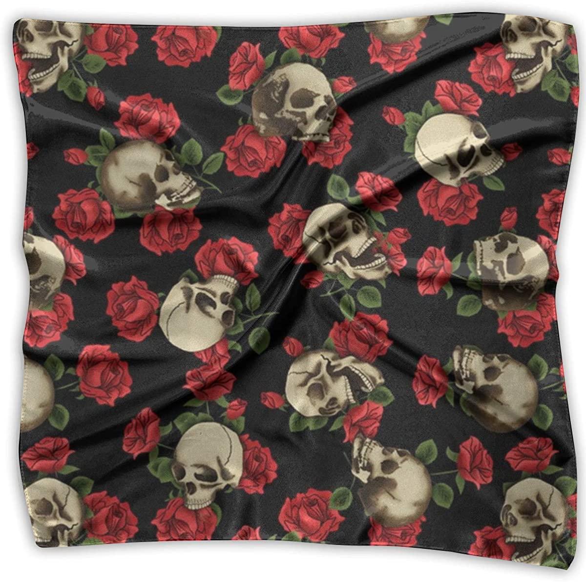 Skull And Rose Pattern Square Handkerchiefs Shawl Bandanas Headscarf Neckerchief Headband