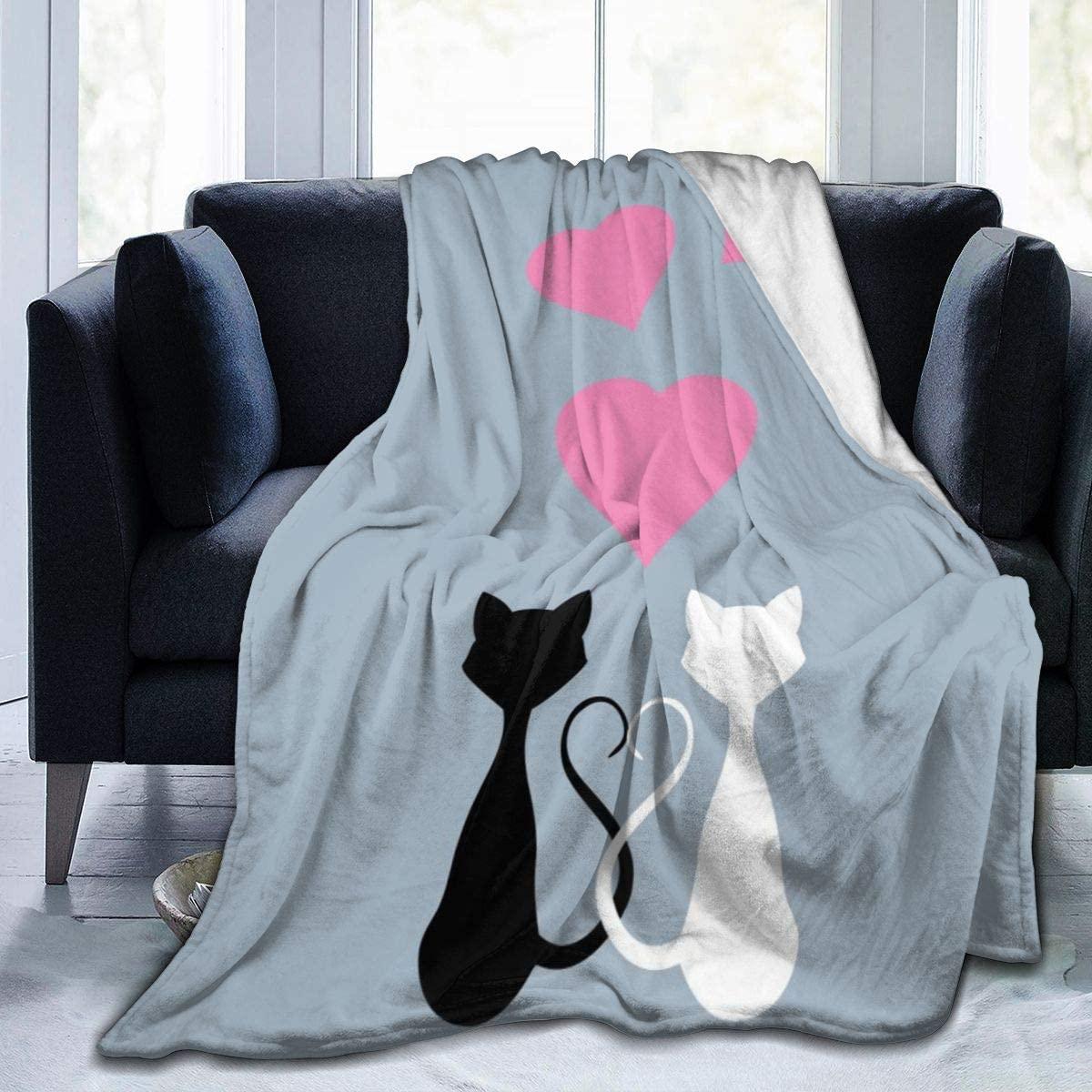 Micro Fleece Plush Soft Baby Blanket Cute Cartoon Cats Love Pink Hearts Fluffy Warm Toddler Bed/Crib Blanket Lightweight Flannel Daycare Nap Kids Sleeping Tummy Time Throw Blanket Girls Boy Kid/Baby