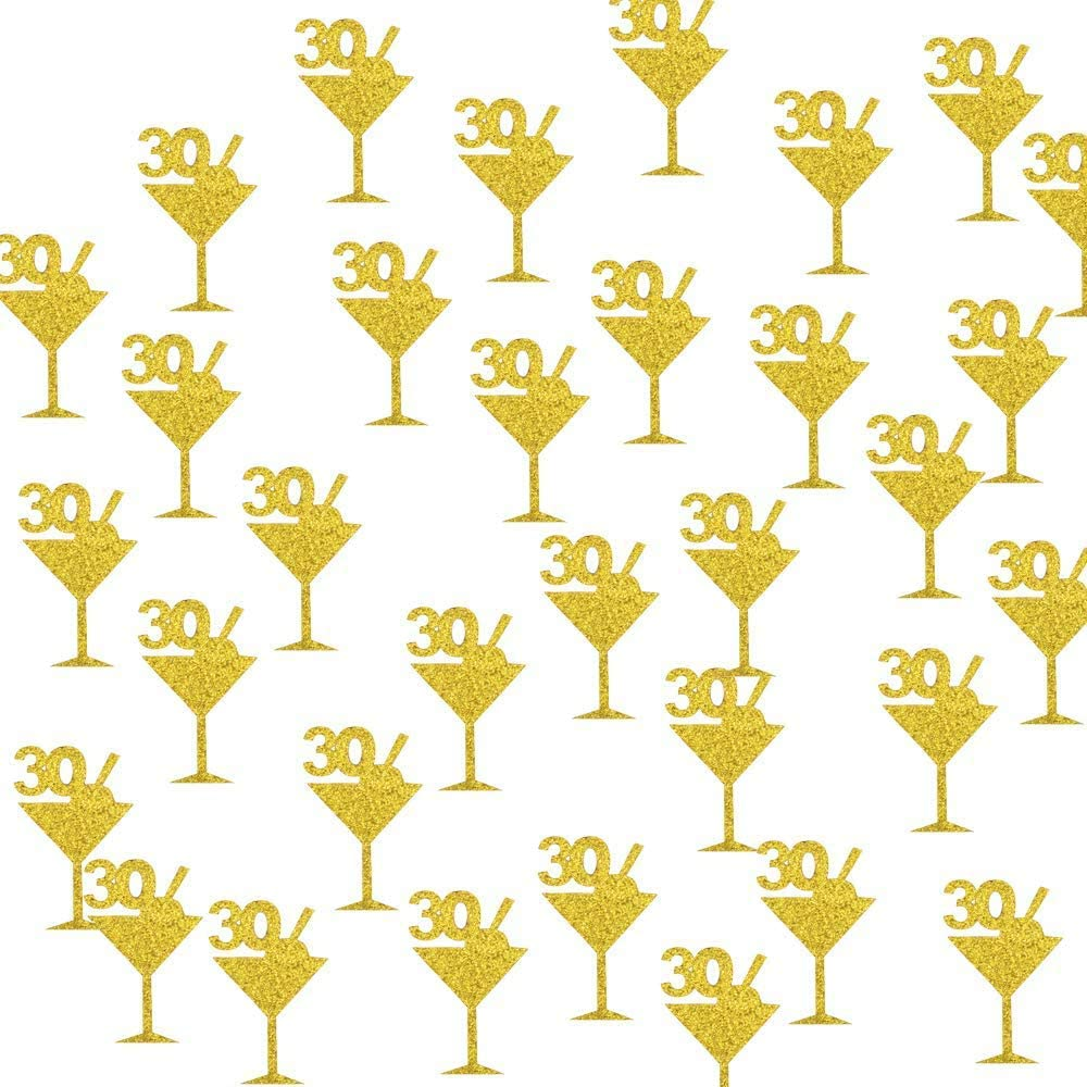 30th Birthday Confetti PVC Centerpieces Cocktail Cute Tags for 30th Birthday Party Decorations Supplies Big Size 1.7x1.1 inches Table Decor 200 Pieces Gold Glitter