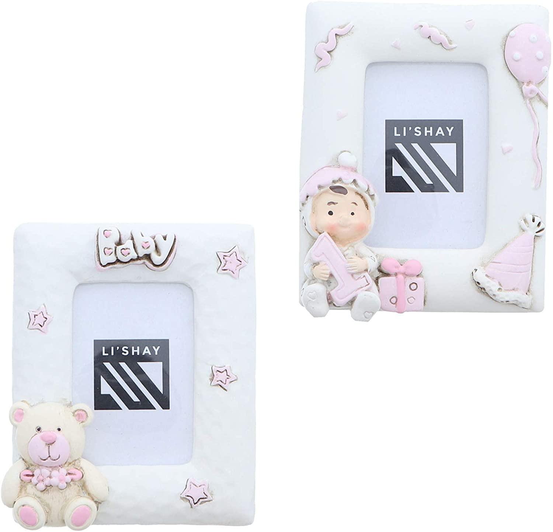 Li'Shay Off White Baby Photo Frame Pink- Set of 2 Pink