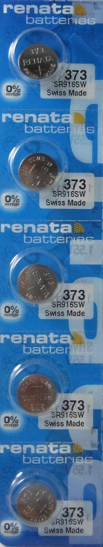 5 Renata 373 SR916SW Silver Oxide Zero Mercury Electronic Batteries