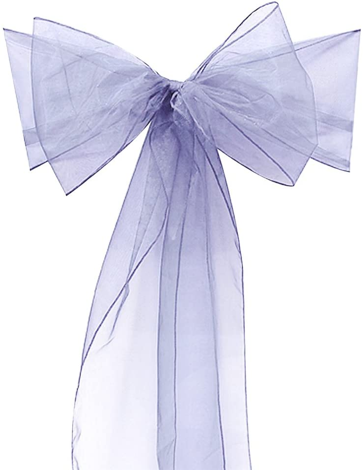 elegantstunning 10PCS Beautiful Organza Chair Sashes with Bowknot for Wedding or Banquet Decor,20275CM Silver