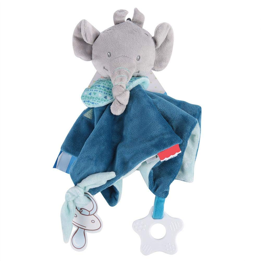 Baby Security Blanket, Baby Infant Cartoon Animal Detachable Soothe Appease Towel Soft Plush Comforting Toy Towel(Elephant)