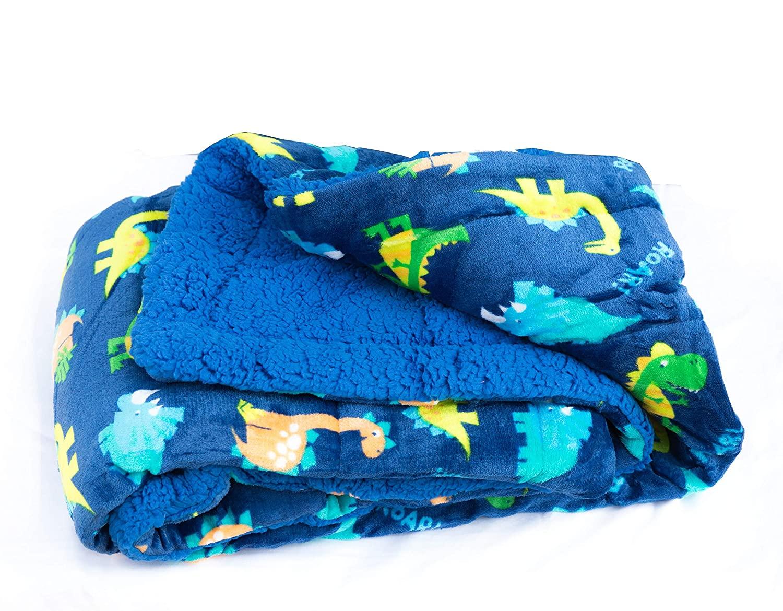 Elegant Home Kids Soft & Warm Sherpa Baby Toddler Boy Sherpa Blanket Dark Blue Navy Dinosaurs Jurassic Park Printed Borrego Stroller or Toddler Bed Blanket Plush Throw 40X50# Dinosaur Navy