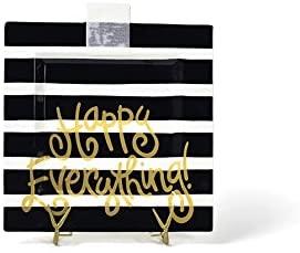 Happy Everything! Big Square Serving Platter (Black Stripe)