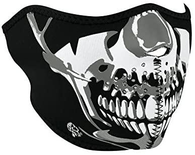 Zanheadgear WNFM023H Neoprene Half Face Mask, Chrome Skull