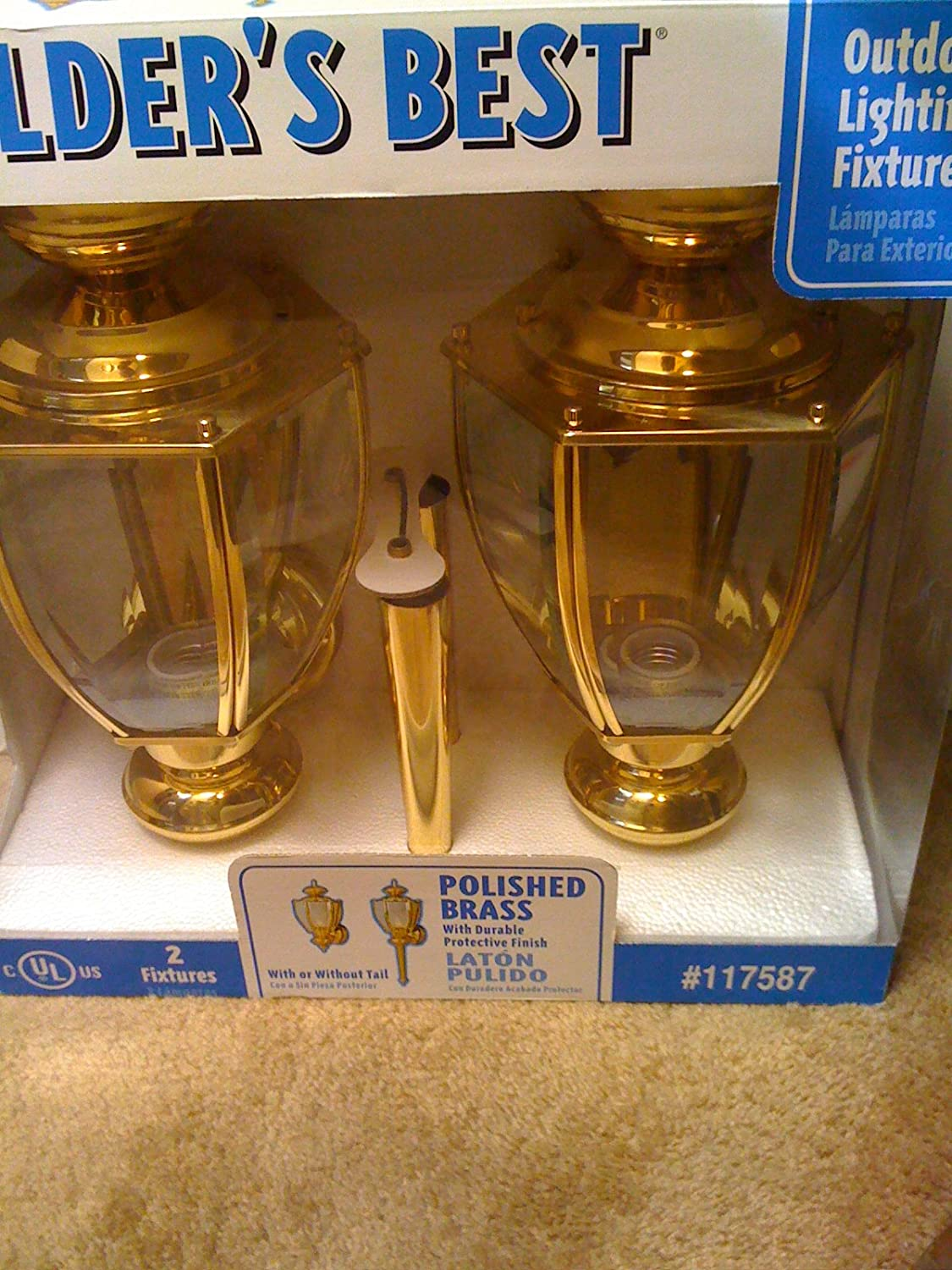Set of 2 Polished Brass Outdoor Wall Lanterns