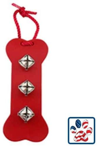 Leather Bone Bell Door Hanger - RED -