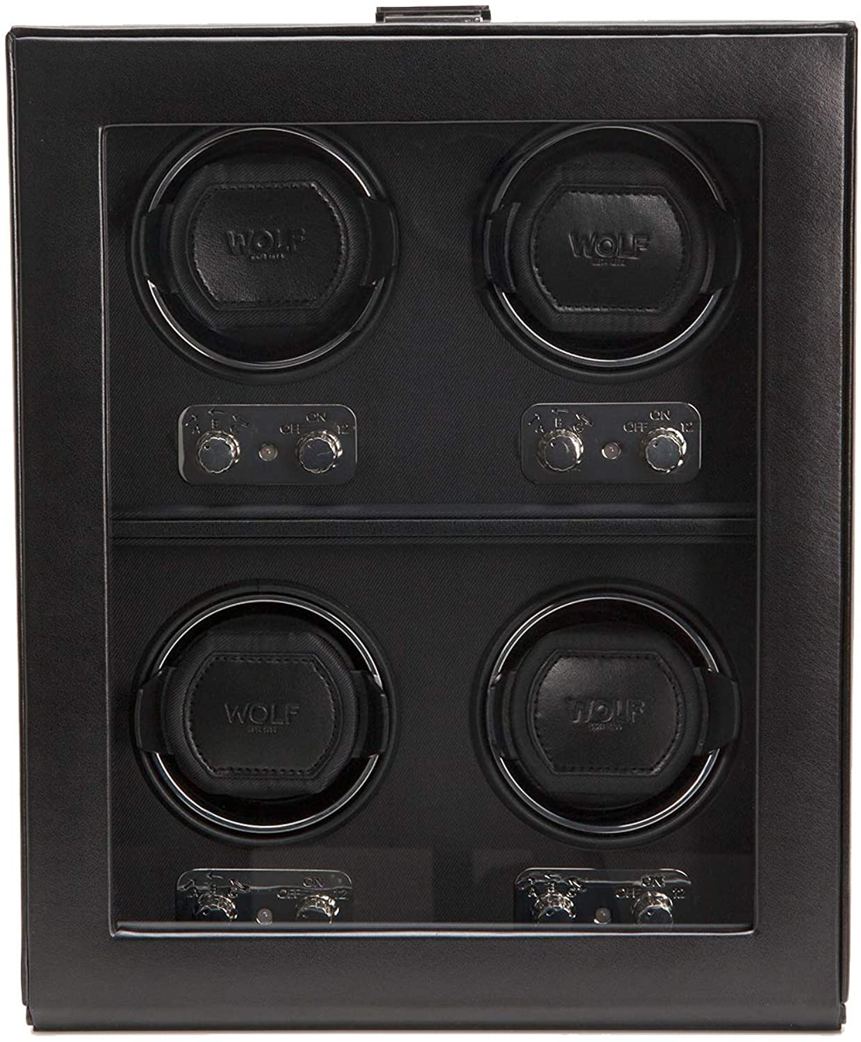 WOLF 270602 Heritage 4 Piece Watch Winder with Cover, Black