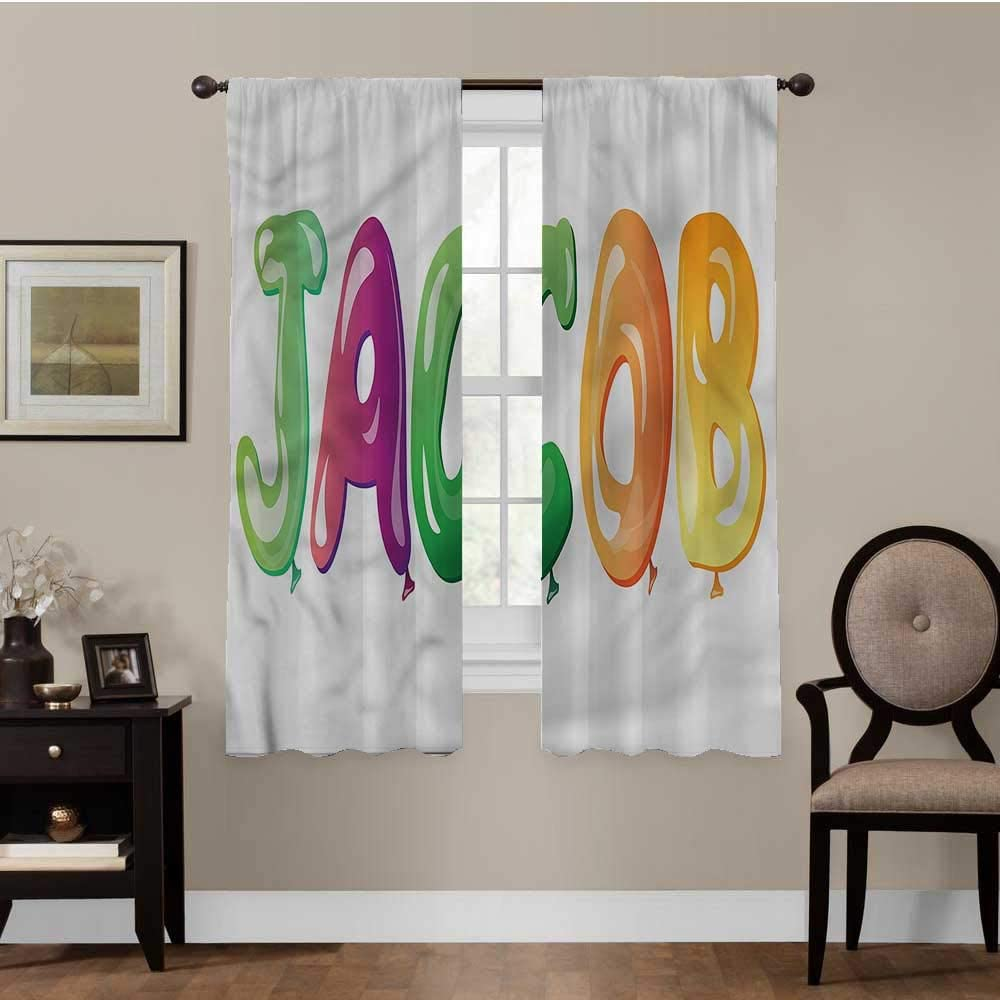 Muyindo Jacob, Room Divider Curtain Screen Traditional Male Name Soft and Durable, Set of 2 Panels (42 x 63 Inch)