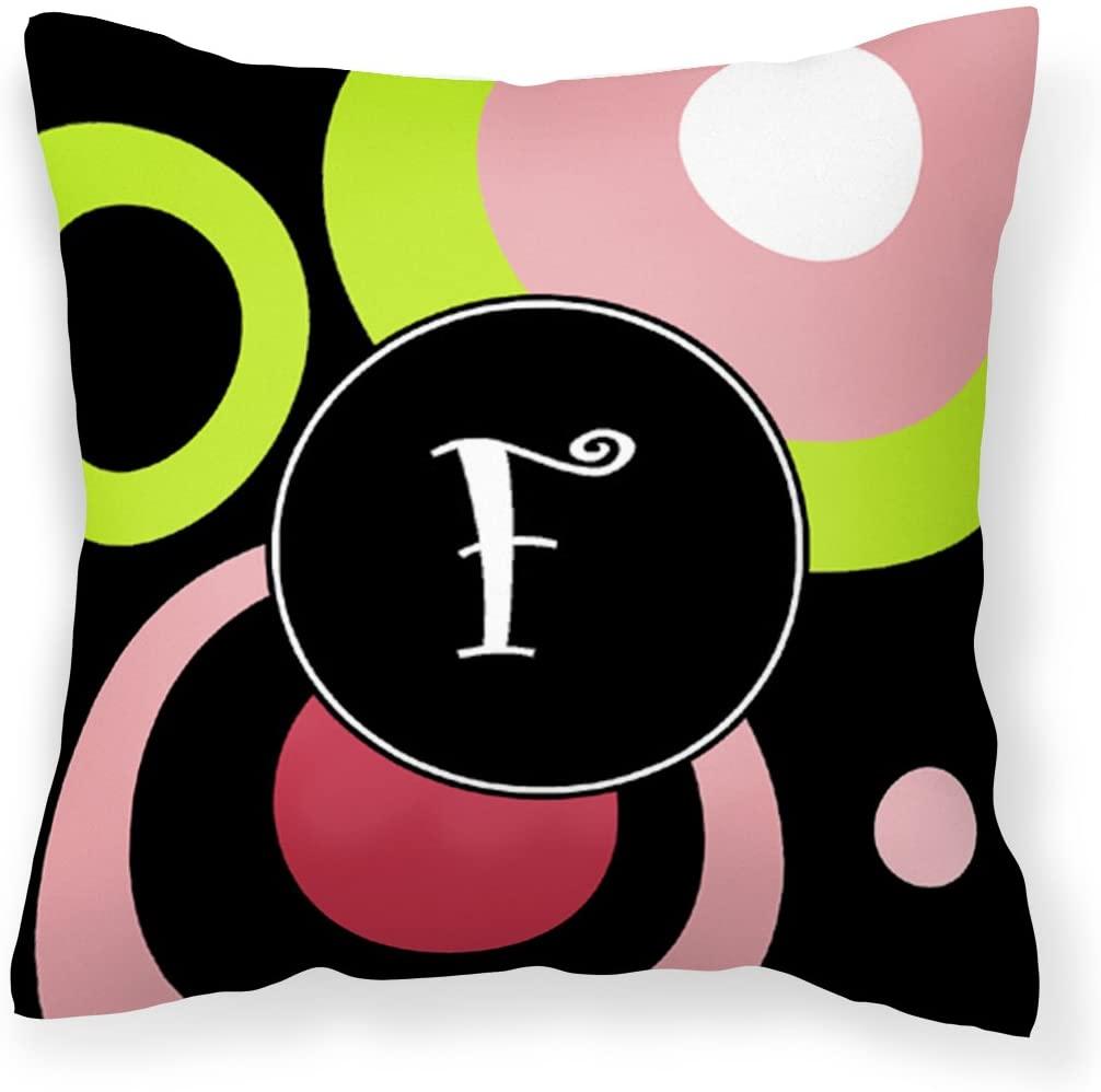Caroline's Treasures AM1002-FPW1414 Letter F Monogram - Retro in Black Fabric Decorative Pillow, 14Hx14W, Multicolor