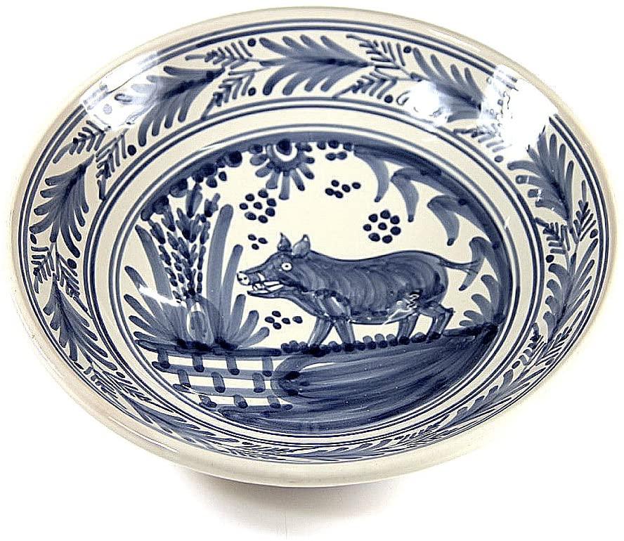 Hand-Painted Golondrina Soup Bowl, Wild Boar Design - 9 Inches by La Tienda