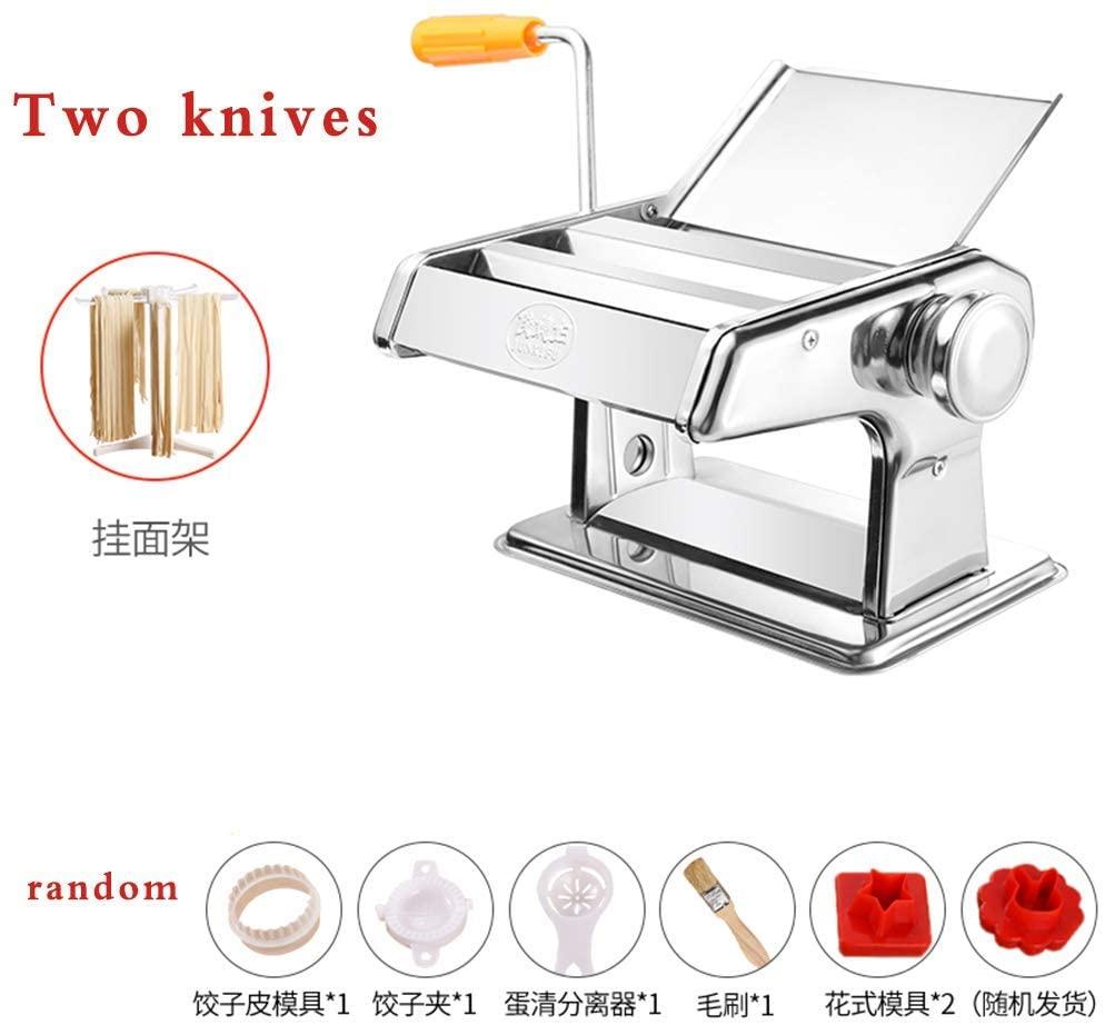Pressing machine home pasta machine, multi-function manual stainless Ganmian machine, dumpling machine wonton,Free noodle shelf