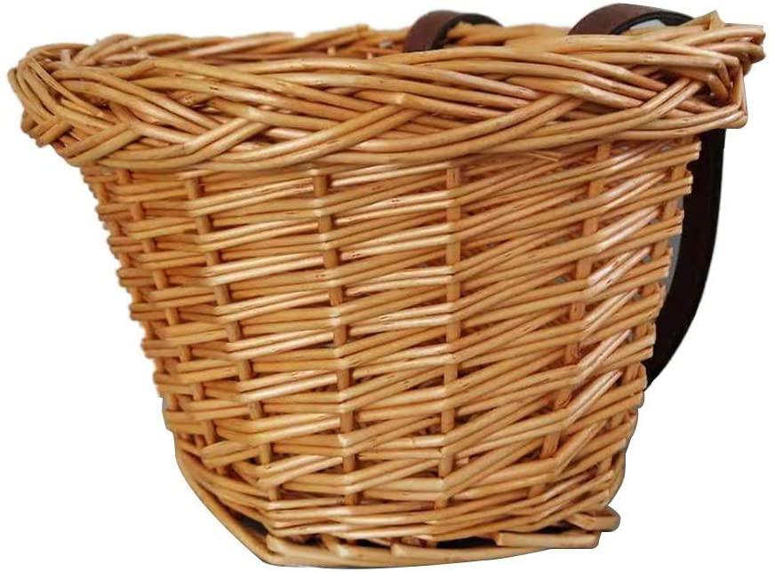 N/Z Bike Basket Front Handlebar Wicker Bike Basket Portable Hand-Woven Shopping Basket Bicycle Handlebar Storage Basket for Children Student Boys Girls