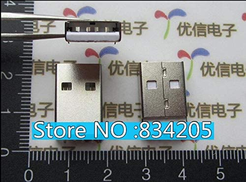 Davitu Electrical Equipments Supplies - 50pcs/lot White Rubber USB A Male Plug Connector 90 Degrees Needle