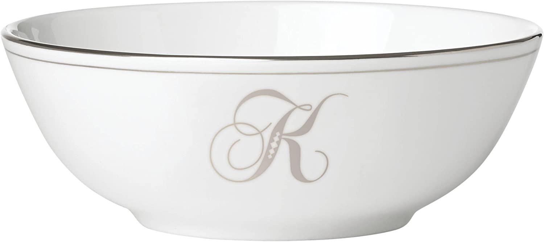 Lenox Federal Platinum Script Monogram Dinnerware Placesetting Bowl, K